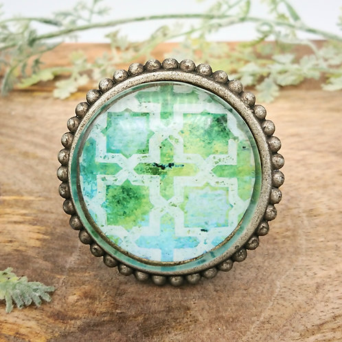 Pewter Door Knob with Glass Inset - Aqua