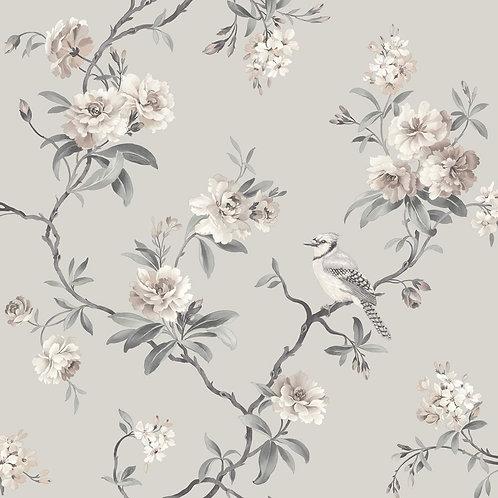 Chinoiserie Bird Wallpaper Grey