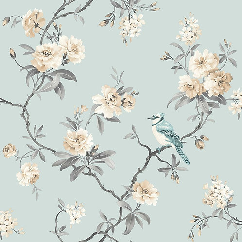 Chinoiserie Bird Wallpaper Duck Egg Blue
