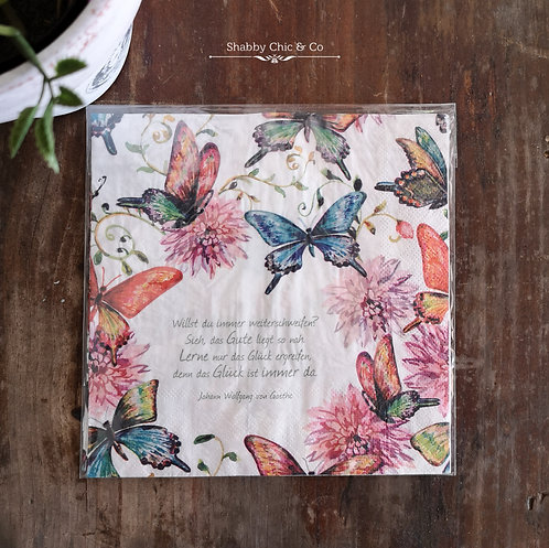 Decoupage Paper Napkins (pkt of 2) - Butterflies and Scrips