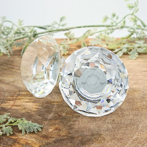 Faceted Clear Glass Door Knob - Crystal Small