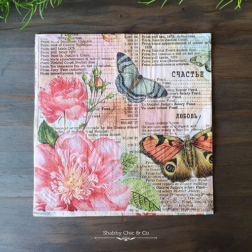 Decoupage Paper Napkins (pkt of 2) -  Butterflies