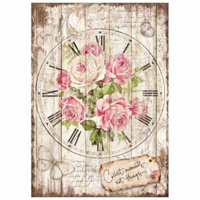 A4 Rice Paper - Sweet time Clock Bouquet 4255