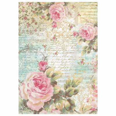 A4 Rice paper - Rose and writings A4204