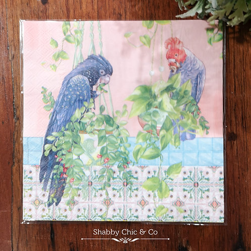 Decoupage Paper Napkins (pkt of 2) - Cockatoos & Plants