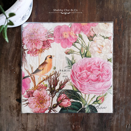 Decoupage Paper Napkins (pkt of 2) - Birds and Pink Flowers