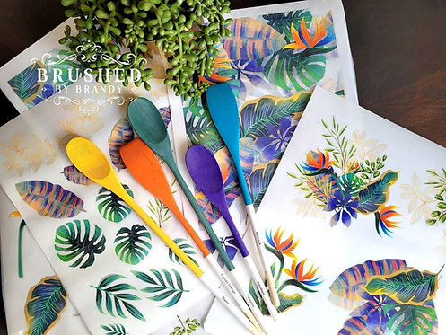 Tropical Leaves Transfer - Belles and Whistles by Dixie Belle
