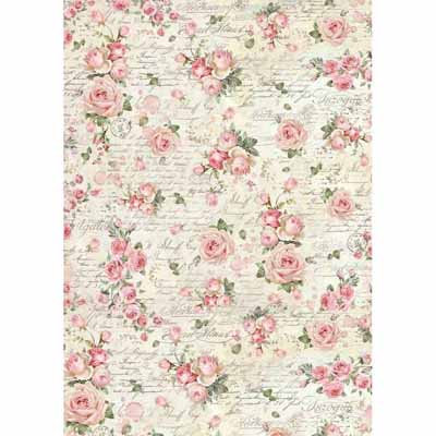 A3 Rice Paper - packed Rose texture 3007
