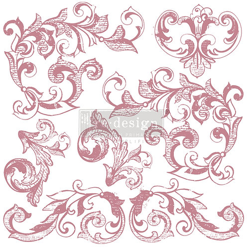 ELEGANT SCROLLS   - REDESIGN DECOR CLEAR CLING STAMPS