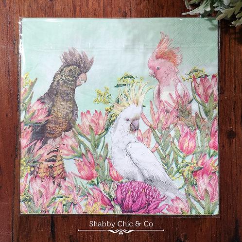 Decoupage Paper Napkins (pkt of 2) - Cockatoos & Flowers