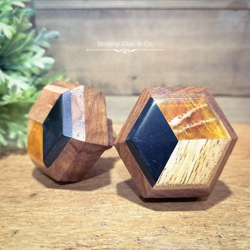 Hexagon Wooden Resin Door Knob