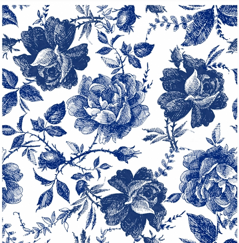 Blue Sketched Flowers Rice Papers (pkt of 3)- Belles and Whistles by Dixie Belle