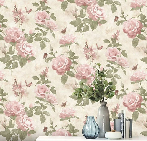 Vintage Rose Floral Wallpaper