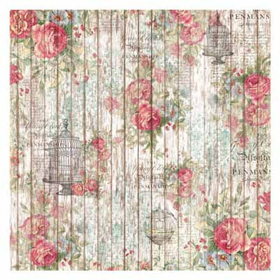 50 x 50 cm Rice Paper - Roses and little cage on wooden background 307