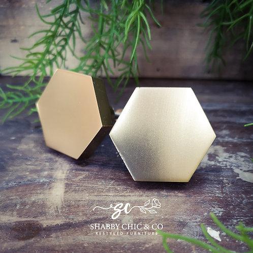 Brushed Gold Hexagon Knob