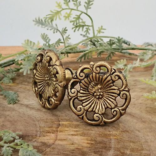 Handmade Brass Door Knob - Floral