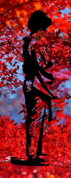 Red Autumn Kimono, black