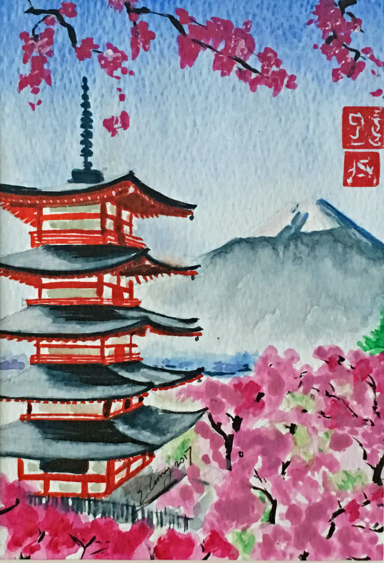 Chureito Blossoms Fuji