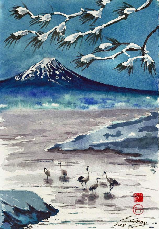 Cranes Fuji Winter
