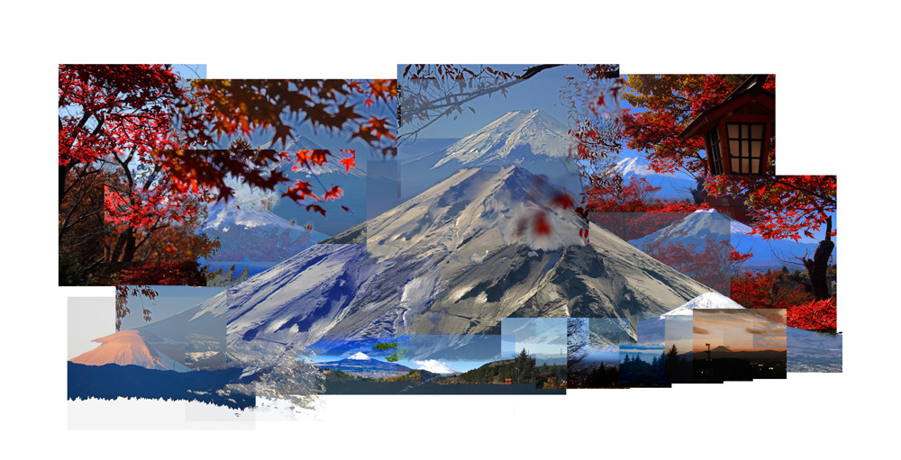 Mt Fuji Autumn 14 x 22 inches 2017 Photo Montage Digital Print