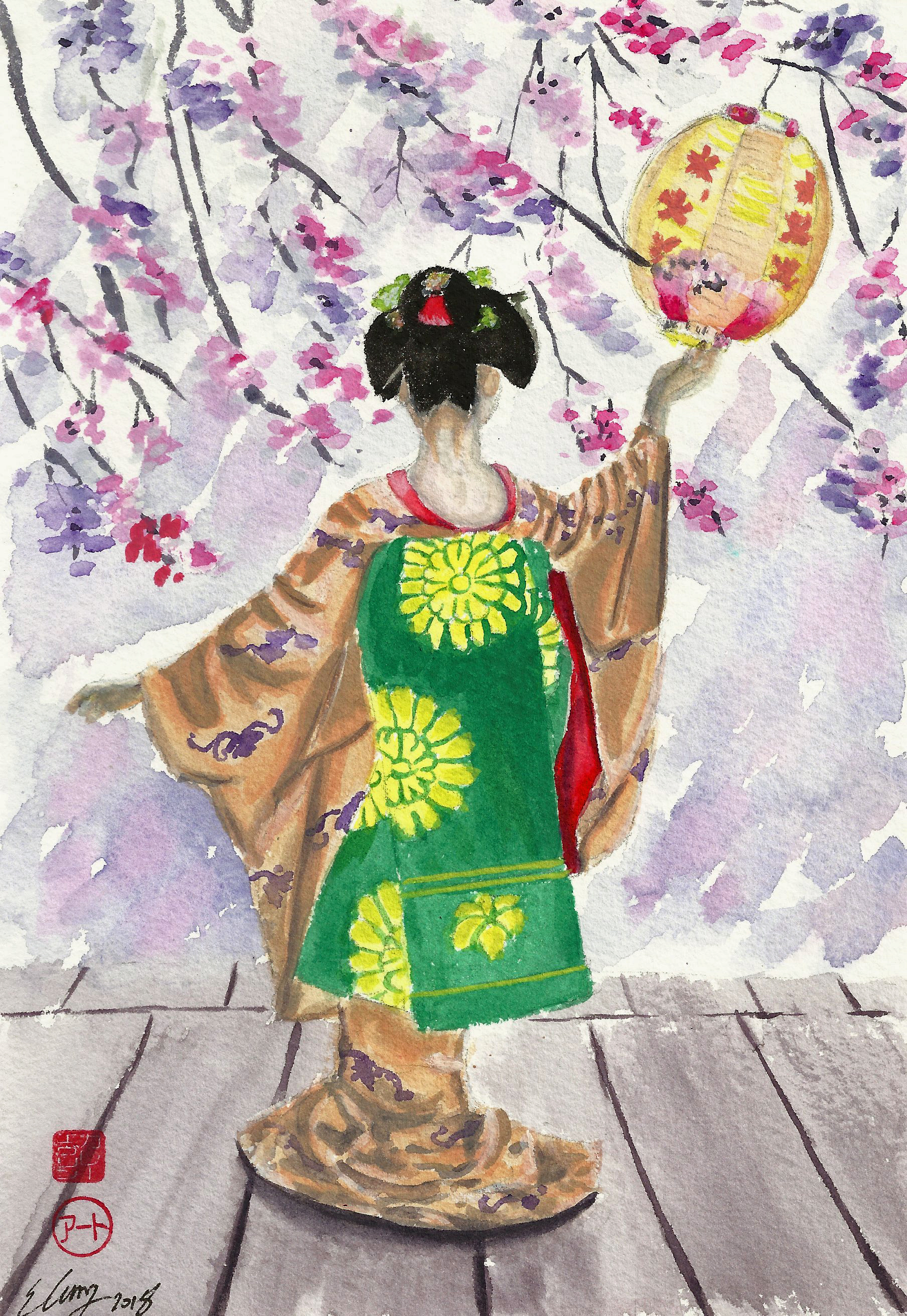 Geisha, Evening, Blossoms