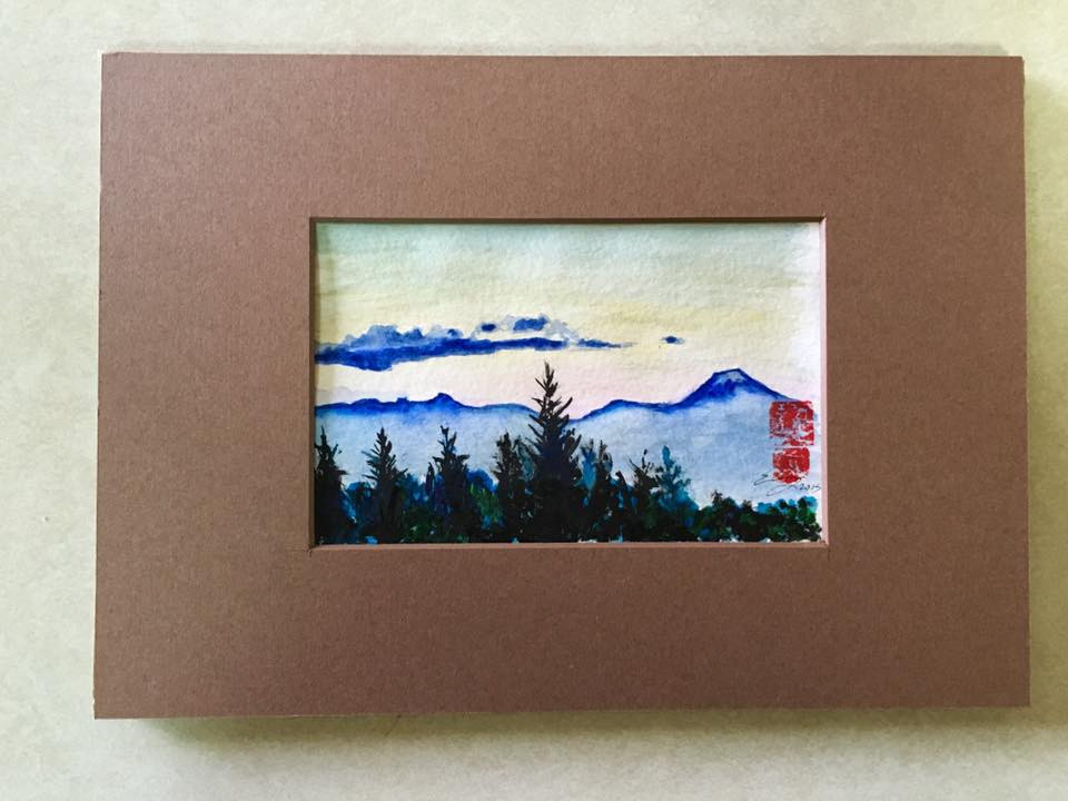 Blue Line Mountain watercolor painting