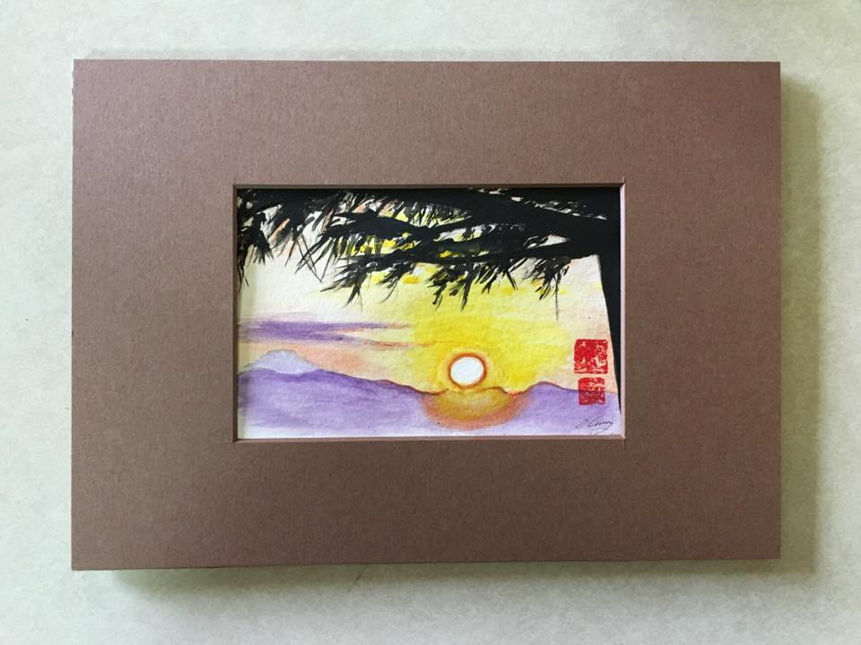 Tree and Sunset watercolor painting