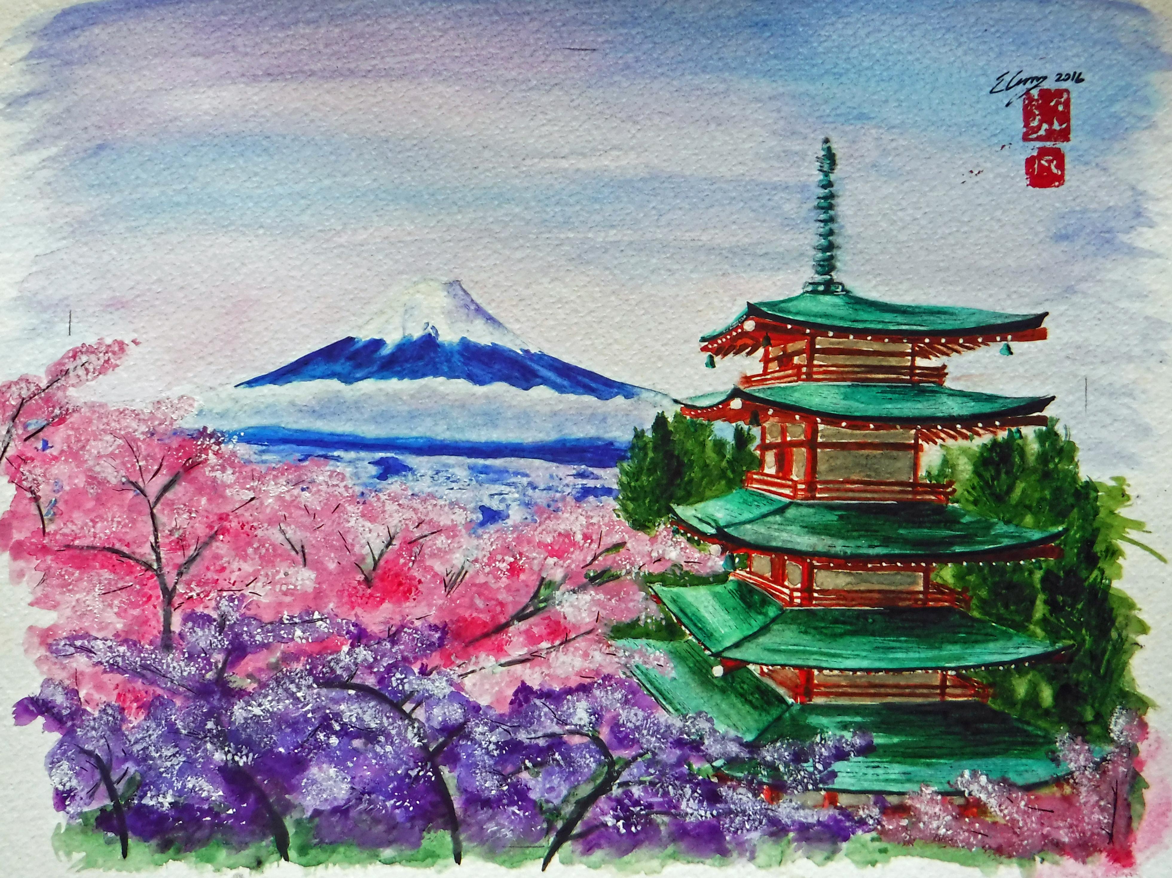 Fuji, Blossoms, Pagoda