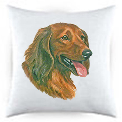 Dachshund Long-haired Dog Portrait Satin Throw Pillow