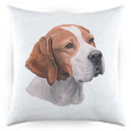 Pointer Dog Portrait Satin Throw Pillow