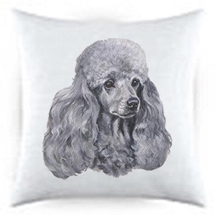 Gray Poodle Dog Portrait Satin Throw Pillow