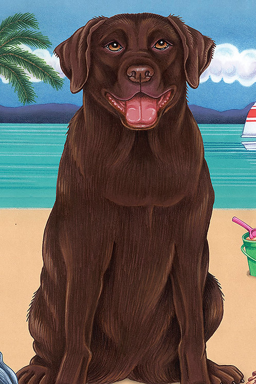 Chocolate Labrador -Terry Velour Microfiber Beach Towel