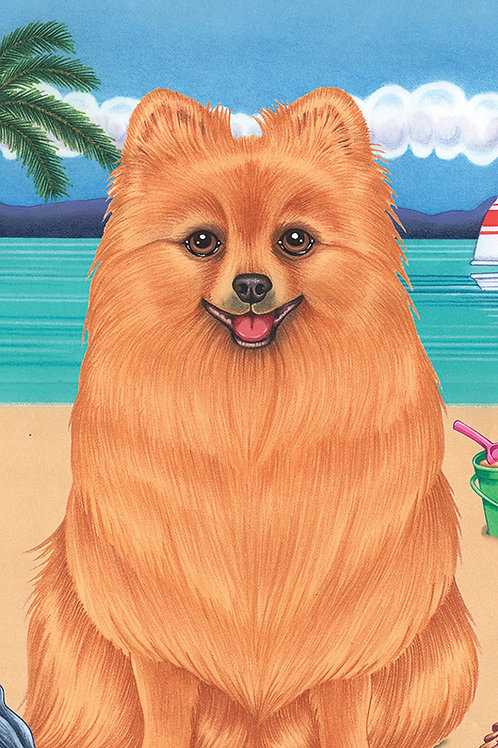 Pomeranian -Terry Velour Microfiber Beach Towel