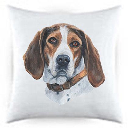 Treeing Walker Coon Hound Dog Portrait Satin Throw Pillow