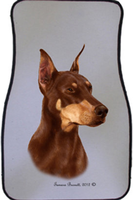 Red Doberman Cropped Best of Breed Car Mats (set of 2)