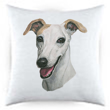 Whippet Dog Portrait Satin Throw Pillow
