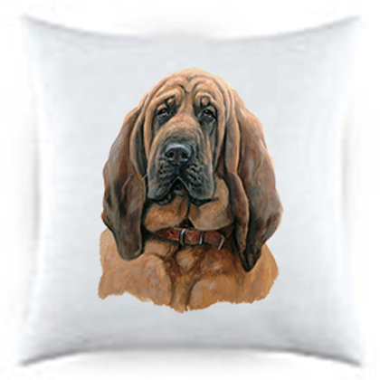 Bloodhound Dog Portrait Satin Throw Pillow