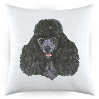 Black Poodle Dog Portrait Satin Throw Pillow