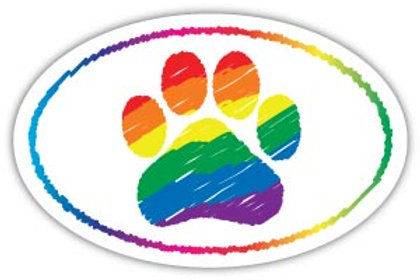 Rainbow Paw Magnet (Oval)
