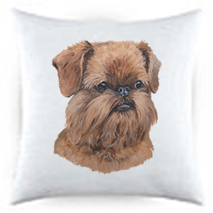 Brussels Griffon Uncropped Dog Portrait Satin Throw Pillow