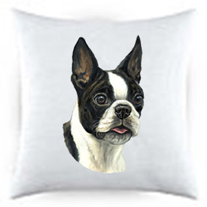 Boston Terrier Dog Portrait Satin Throw Pillow