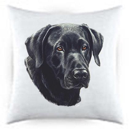 Black Labrador Dog Portrait Satin Throw Pillow