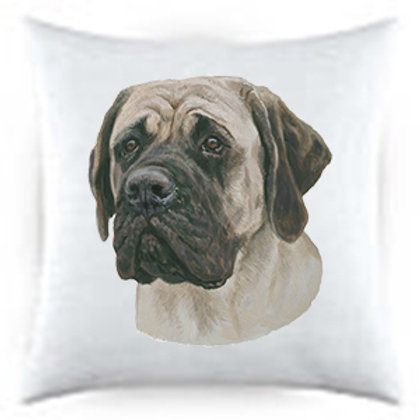 Mastiff Dog Portrait Satin Throw Pillow