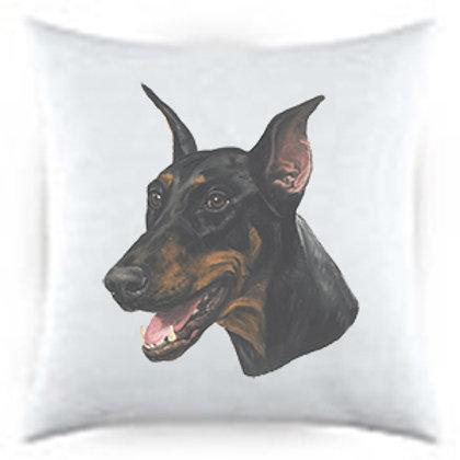 Doberman Dog Portrait Satin Throw Pillow