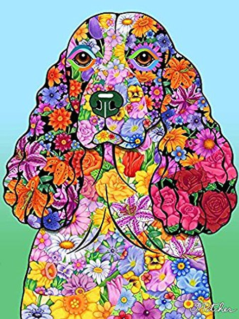 Springer Spaniel -Flowers Design Garden Flag