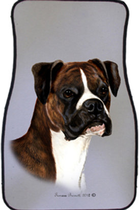 Boxer Brindle Uncropped Best of Breed Car Mats (set of 2)