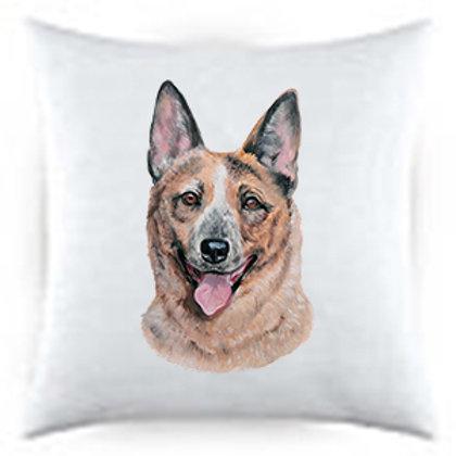 Australian Cattle Dog Portrait Satin Throw Pillow