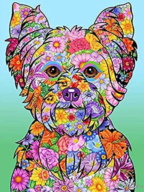 Yorkie Puppy Cut -Flowers Design Garden Flag