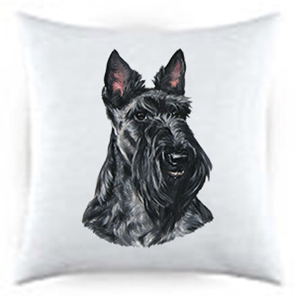 Scottish Terrier Dog Portrait Satin Throw Pillow