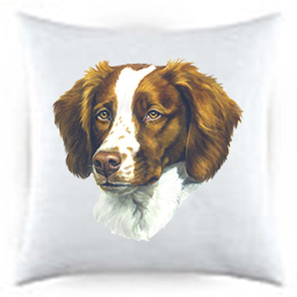 Brittany Spaniel Dog Portrait Satin Throw Pillow